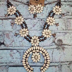 Jewelry - Squash blossom white & coppertone jewelry set